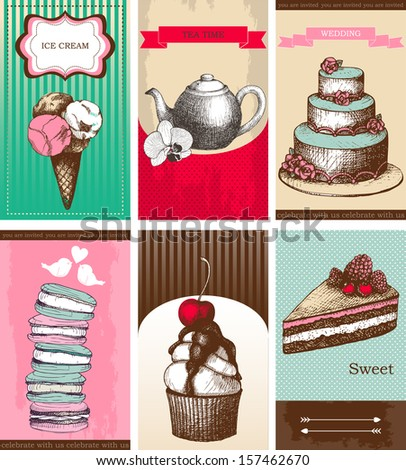 Vector collection of greeting cards with hand drawn desserts. - stock vector