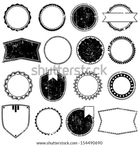 Vector Collection of Grunge Style Badges or Stamps - stock vector