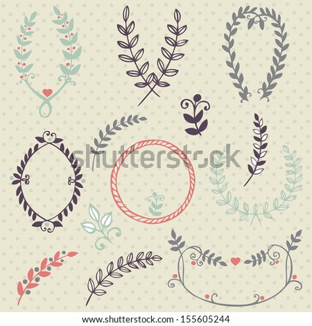 Vector collection of hand drawn  design elements and objects. Vintage floral elements. - stock vector