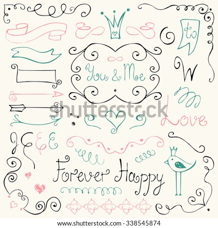 Vector collection of hand drawn ink borders, frames and scroll elements. Unique romantic design for wedding cards, invitations and gift wrapping. Black, pink, turquoise on gray - stock vector