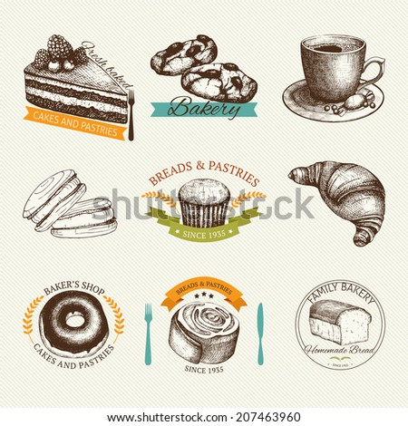 Vector collection of hand drawn labels and banners with breads and pastries illustration. Vintage bakery illustration isolated on white. - stock vector