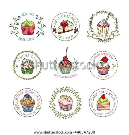 Vector collection of hand drawn pastry badges. Beautiful vector graphics for pastry shops, coffee houses, cafes or any other business related to the catering. Icons and labels design.  - stock vector