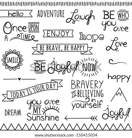 Vector Collection of Hand Inspirational Drawn Words and Phrases - stock vector