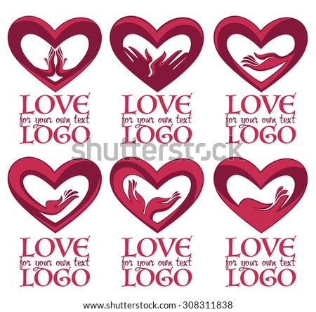 vector collection of heart, hands and love logo, concept, labels and forms - stock vector