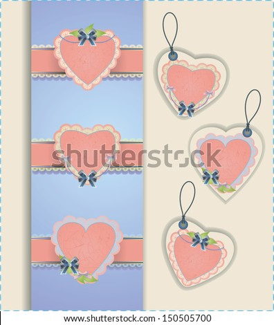 Vector collection of hearts with ribbons