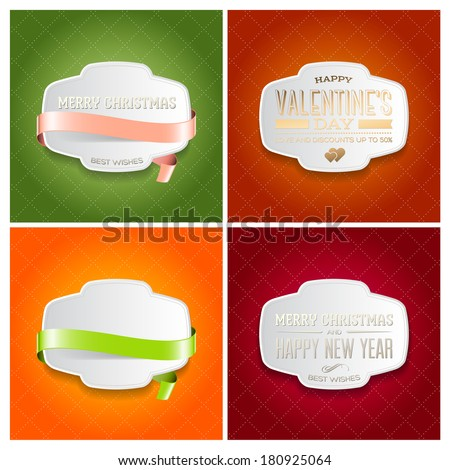 Vector collection of holiday greeting cards. Christmas, Valentine's day and New Year postcards with vintage typography. Bright patterns and retro white plastic labels with cute silky ribbons - stock vector