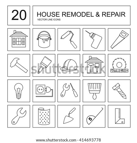 Vector collection of house repair icons, including hammer, wallpaper, saw, drill and other tools.  - stock vector