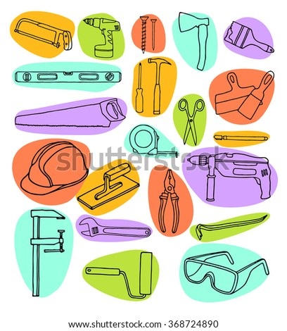 Vector collection of house repair icons. Repair tools. House remodel. House Remodel doodle icons