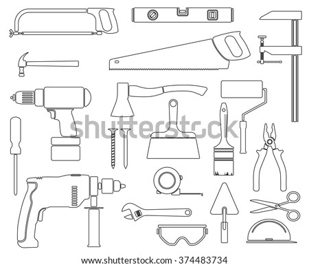 Vector collection of house repair icons. Repair tools. House remodel. House Remodel icons - stock vector