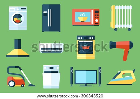 Vector collection of household appliances icons. Flat style. - stock vector