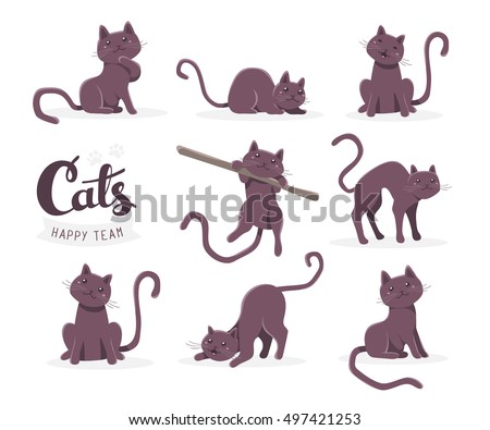 vector collection illustration cute dark cat stock vector