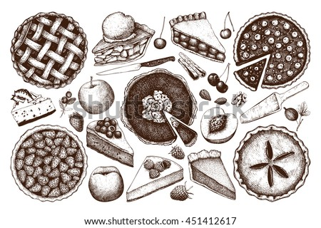 Vector collection of ink hand drawn fruit and berry baking illustration. Vintage set of traditional cake, tart and pie sketch. Sweet  bakery. Top view.  - stock vector