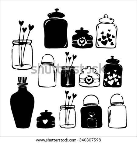 Decorative Canning Jars Clip Art