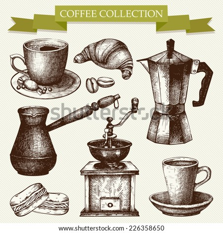 Vector collection of ink hand drawn vintage coffee illustration isolated on striped background for restaurant or cafe menu. Vintage coffee and pastry illustration - stock vector