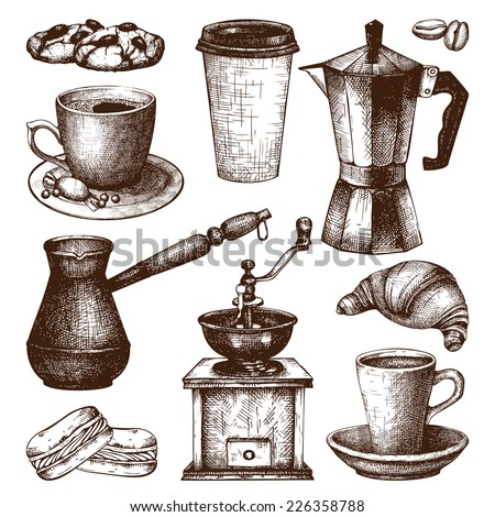 Vector collection of ink hand drawn vintage coffee illustration isolated on white background for restaurant or cafe menu. Vintage coffee and pastry  illustration - stock vector