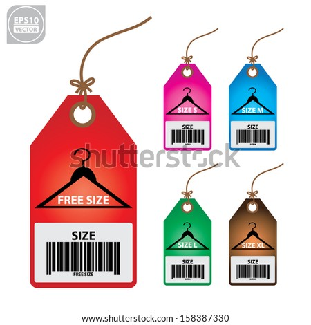 Vector: Collection of isolated clothing size colorful labels. - stock vector