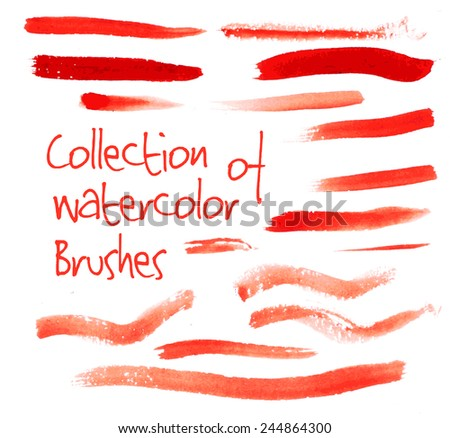 Vector collection of isolated red watercolor brushes on white background - stock vector