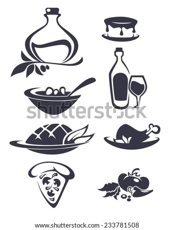 vector collection of Italian food - stock vector