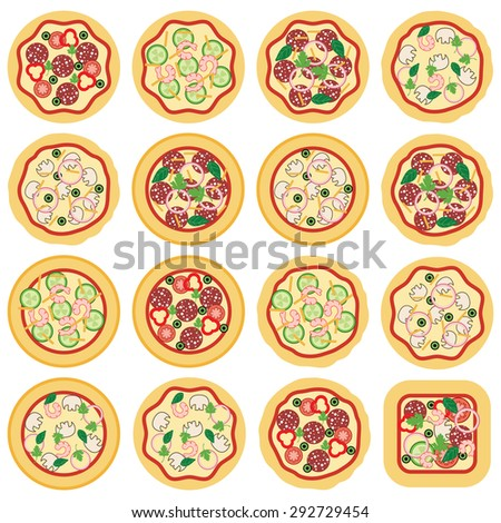 vector collection of italian pizza icons - stock vector