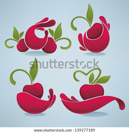 vector collection juice stickers cherry symbols stock vector