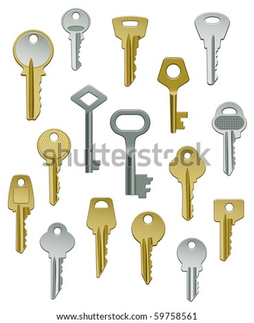 Vector Collection of Keys - Set Two - stock vector
