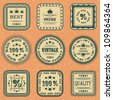 Vector collection of labels on orange grunge background - stock vector