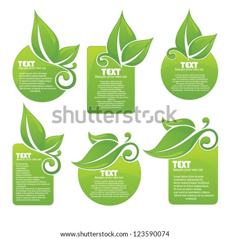 vector collection of leaf frames, labels and stickers - stock vector