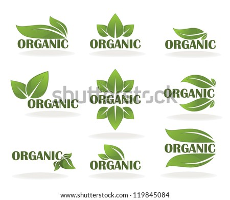 vector collection of leaf signs, symbols and organic slogans - stock vector
