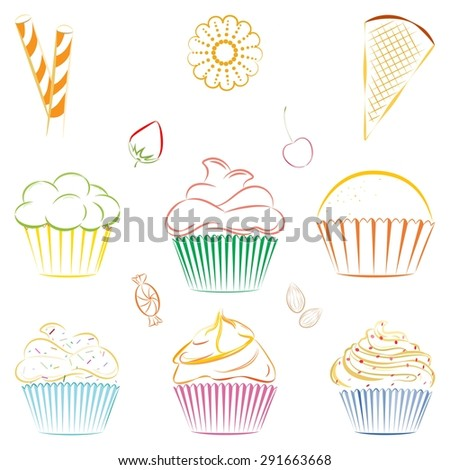 Vector collection of line drawing of cupcakes, candies and berries. Outline of sweets, cookies and berries. Great for icons, as design elements on web sites or labels, wrapping paper and packaging. - stock vector