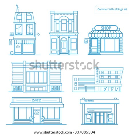 Vector collection of linear icons and illustrations buildings.Hostel, Shop, Bank, Cinema, Restaurants, Hospital, Gas Station - stock vector