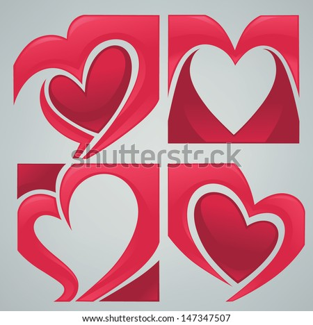 vector collection of love concept stickers, labels, frames and forms