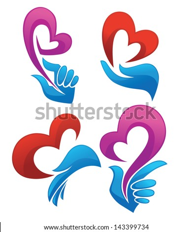 vector collection of love concept, symbols and emblems - stock vector