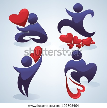 vector collection of love symbols and icons - stock vector