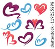 vector collection of love symbols, signs and forms - stock vector