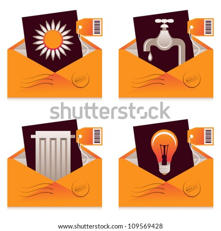 Vector collection of mailed bills for water, electricity, heating and gas consumption - stock vector