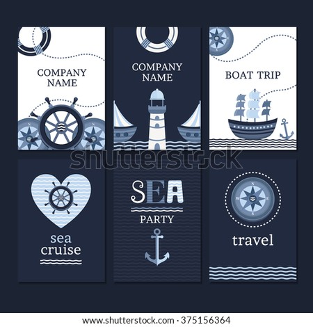 Vector collection of marine cards and flyers. Save the date cards template. Set banners in sea style. Set of elements for cards and invitations. - stock vector