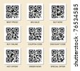 Vector collection of marketing related qr codes for your design. - stock photo