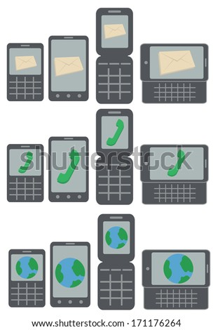 vector collection of mobile phone types receiving messages, calls and connecting to the internet isolated on white background