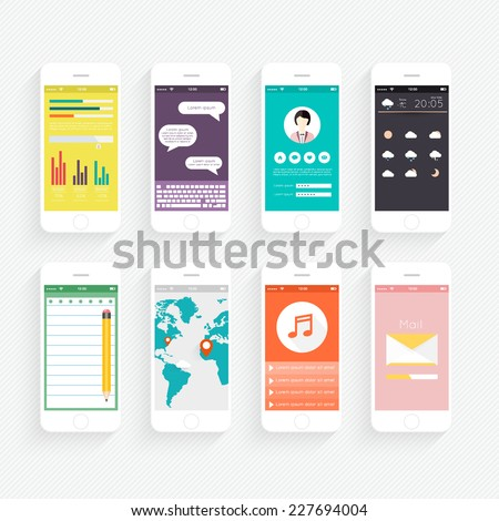 Vector Collection of Mobile Phones with User Interface and Infographic Elements. Modern Flat Style Design Templates Set. - stock vector
