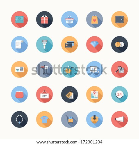 Vector collection of modern flat and colorful shopping icons with long shadow. Design elements for mobile and web applications. - stock vector