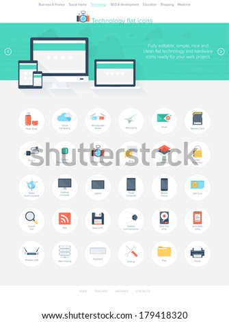 Vector collection of modern, simple, flat and trendy technology icons. Easy to edit web template for your project. - stock vector