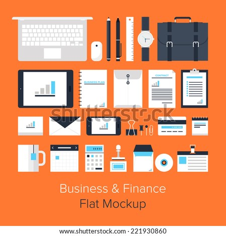 Vector collection of modern trendy flat business and office icons on orange background. - stock vector