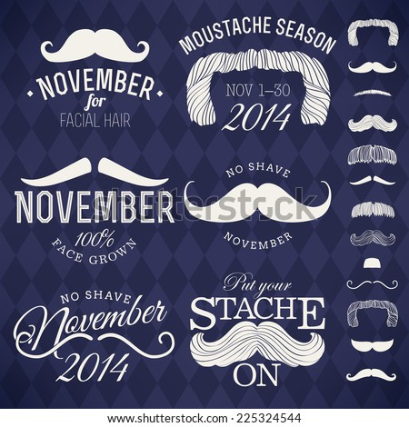 Vector collection of moustache emblems | Mustache themed retro looking insignia set on no shave november  - stock vector