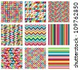 Vector Collection of Nine Bright Geometric Backgrounds - stock photo