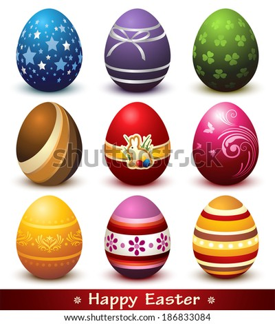 Vector Collection of nine Colorful Easter Eggs isolated on White - stock vector