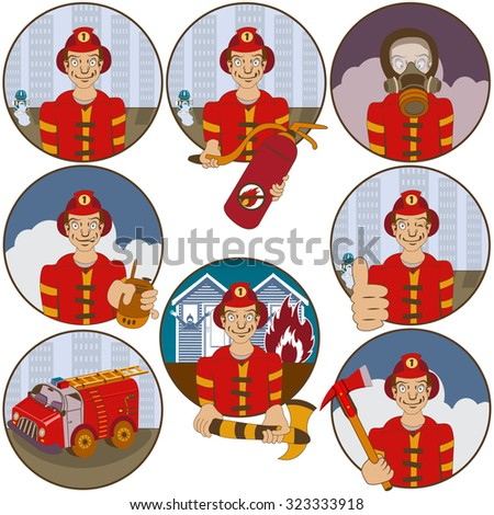 Vector collection of nine different cartoon fireman stickers - face emotions. - stock vector
