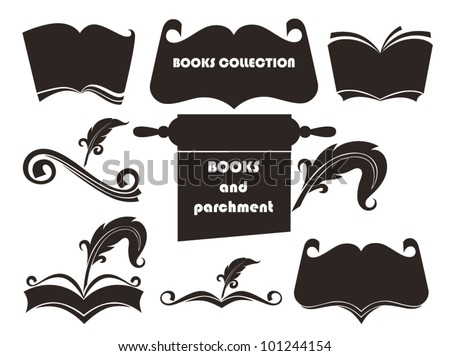 vector collection of old books, parchment and history symbols - stock vector