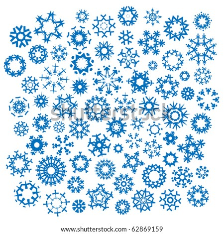 Vector collection of over 70 different snowflakes