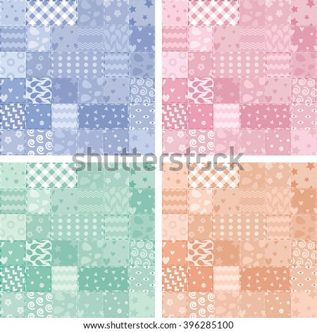 vector collection of patchwork handicraft fabric background in shabby chic style - stock vector