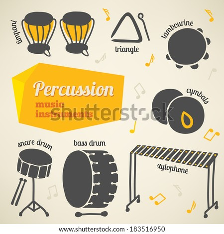 Vector collection of percussion music instruments - stock vector
